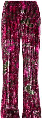 F.R.S For Restless Sleepers Etere Floral-print Ribbed Velvet Straight-leg Pants