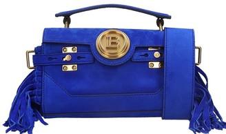 Balmain Bbuzz Shoulder Bag In Blue Suede