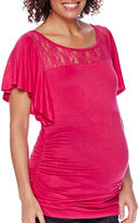 Asstd National Brand Maternity Flutter-Sleeve Lace-Yoke Ruched-Side Top - Plus