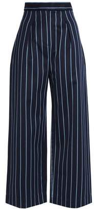 SOLACE London Striped Wool And Cotton-blend Twill Wide-leg Pants