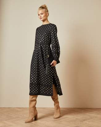 Ted Baker Long Sleeved Tie Cuff Midi Dress