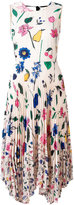 Markus Lupfer fruit blossom pleated 'Ella' dress - women - Polyester/Cotton - M