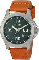 Roots Men's 'Core' Quartz Stainless Steel and Leather Casual Watch, Color:Brown (Model: 1R-LF400GN2DB)