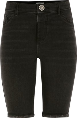 River Island Girls Black denim cycling shorts