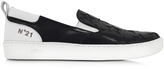N°21 Black and White Leather Slip on Men's Sneaker w/Stars