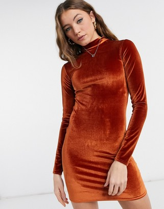 Rokoko high neck long sleeve bodycon dress in burnt orange velvet