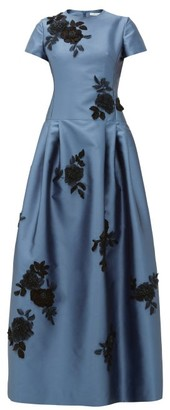 Erdem Alphonse Floral-applique Mikado-satin Gown - Womens - Blue