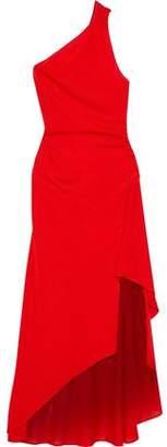 Roberto Cavalli Asymmetric One-shoulder Stretch-knit Gown