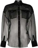 Brunello Cucinelli silk sheer long sleeve blouse