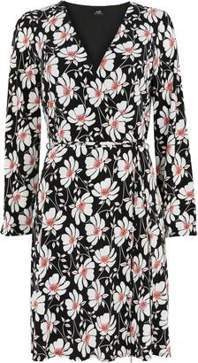 Wallis Monochrome Floral Jersey Wrap Dress