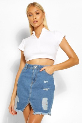 boohoo Extreme Ripped Denim Mini Skirt