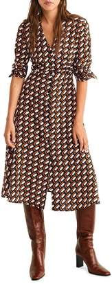 MANGO Romi Printed Button-Front Dress