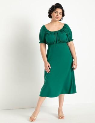 ELOQUII Scoop Neck Midi Dress
