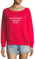 Milly Slippery When Wet Scoop-Neck Sweatshirt