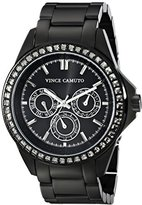 Vince Camuto Women's Quartz Watch with Black Dial Analogue Display and Black Stainless Steel Bracelet VC-5087BKBK