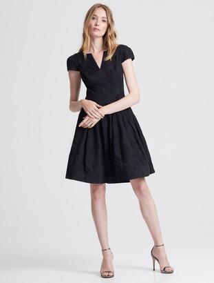 Halston Cap Sleeve Notch Neck Jacquard Dress