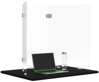"Luxor RECLAIM Trifold Acrylic Desk Shield- 12"" x 24"" Freestanding, Clear"