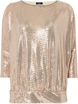 Wallis PETITE Rose Gold Sequin Banded Top