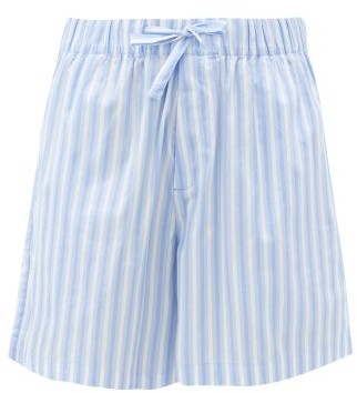 Tekla Striped Organic-cotton Poplin Shorts - Blue Stripe