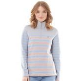 Crew Clothing Womens 1/2 Zip Stripe Sweatshirt Grey/Melon/Blue