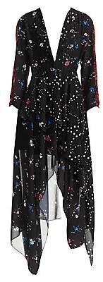 Maje Women's Remix Floral-Print Handkerchief Midi Dress