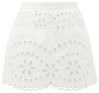 RED Valentino Broderie-anglaise Cotton Skorts - Womens - White