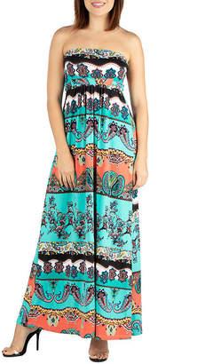 24/7 Comfort Apparel 24/7 Comfort Dresses Strapless Empire Waist Maxi Dress