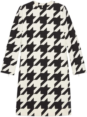 Gucci Short houndstooth print wool silk dress