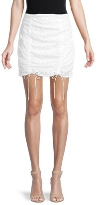 For Love & Lemons Montauk Eyelet-Cotton Mini Skirt