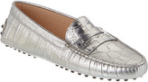 Tod's Gommino Croc-Embossed Leather Loafer