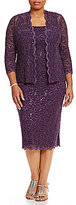 Alex Evenings Plus Sequined Lace Jacket Dress