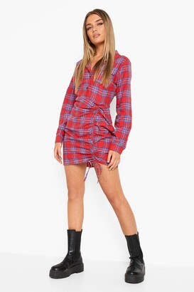 boohoo Rouched Fitted flannel Shirt Dress
