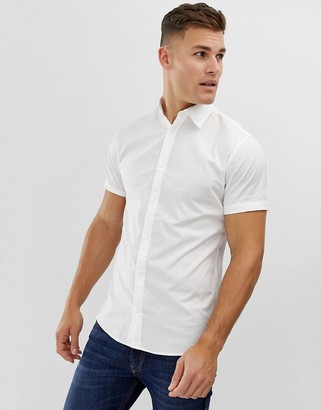 Jack and Jones stretch cotton short sleeve shirt in white