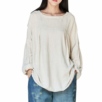 SEWORLD Women Plus Size Loose Solid O-Neck Long Sleeve Tops Shirt Blouse White