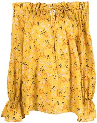 L'Autre Chose Floral-Print Off-Shoulder Blouse