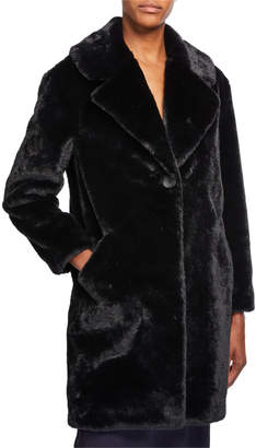 Adrienne Landau Plush Faux-Fur Coat, Black