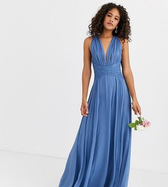 Asos Tall DESIGN Tall Bridesmaid ruched bodice drape maxi dress with wrap waist-Blue