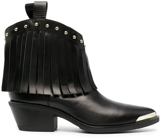 Love Moschino Fringe-Detail Leather Boots