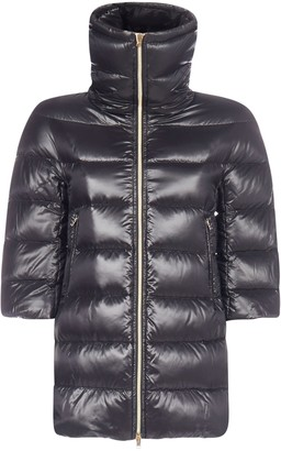 Herno High Neck Cropped Sleeve Coat
