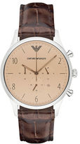 Emporio Armani Classic Stainless Steel Leather Strap Watch