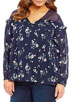 Blu Pepper Plus Crew Neck Long Sleeve Floral Print Woven Peasant Shirt