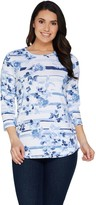 Denim & Co. Heavenly Jersey Floral Stripe Print Hi-Low Hem Top