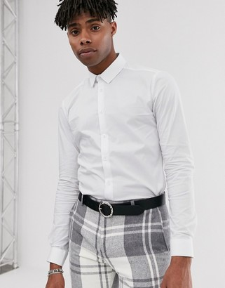 Twisted Tailor super skinny fit shirt in white