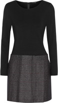 Theory Bowmont stretch-jersey and tweed mini dress