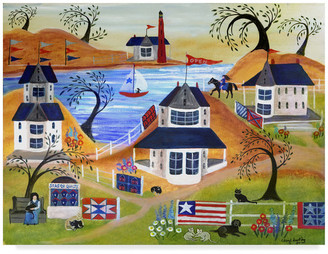 Americana Trademark Fine Art Cheryl Bartley 'Americana Seaside Quilts Under Willow Trees' Canvas Art