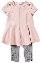 Edgehill Collection Baby Girls 12-24 Months Snap-Sleeve Pleated Top & Leggings Set
