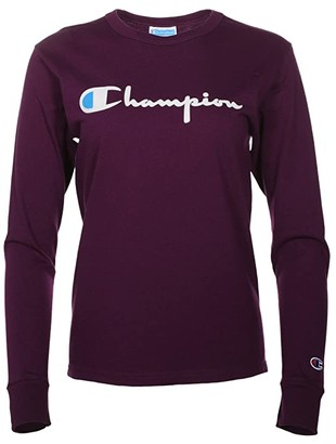 Champion Long Sleeve BF Tee - Flock Script (Black) Women's Clothing