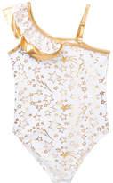 Betsey Johnson Ruffle Shoulder One-Piece Swimsuit (Toddler Girls)