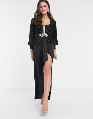ASOS DESIGN balloon-sleeved midi dress with sheer corset detail and drape skirt