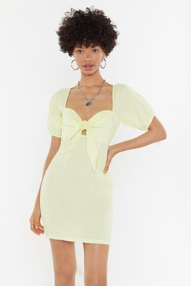 Nasty Gal Womens Knot In A Million Years Tie Linen Dress - Yellow - 12